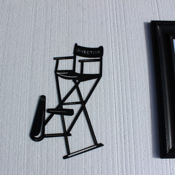 """Directors Chair with Horn 16"""" Home Theater Decor Metal Wall Art"""
