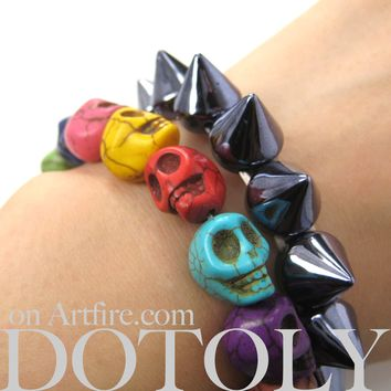 Skeleton Agate Bead Rainbow Colored Skull Stretchy Bracelet