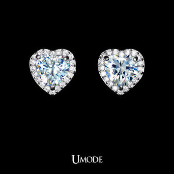 UMODE Rhodium Color Multicolor Stud Earrings with Clear Heart Cubic Zircon Stone for Women Free Drop Shipping UE0100