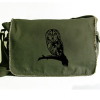 Owl Large Messenger Bag - Shoulder Canvas Bag