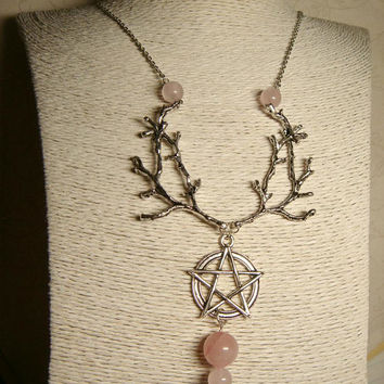 Wiccan Necklace, Gemstone Jewelry, Pagan Necklace, Rose Quartz, Metaphysical, Spiritual, Witchcraft, Nature Wildlife, Pentacle Pentagram Bib
