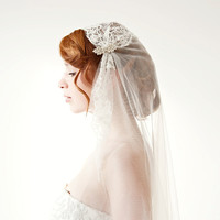 Tule chapel length veil, lace, bridal cap - Touch of Love - Made to Order