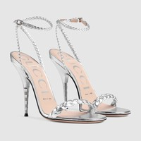Gucci Braided metallic leather sandal