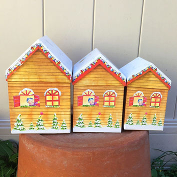 Set of 3 Nested Christmas House Boxes