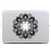 Black Flower Macbook Decal Macbook pro Sticker Macbook Decals vinyl Stickers Apple Decal for Macbook Pro/Air decal for 13inch(SN26261)