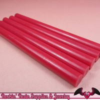 5 Fuchsia Hot Pink  Mini Hot GLUE STICKS / Deco Sauce / Fake Icing / Nail Art Stick / Faux Wax Seals