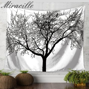 Miracille Life of Tree Pattern Throw Beach Tapestry Home Wall Art Tapestries Bedroom Blanket Yoga Mat Decorative Home Cloth