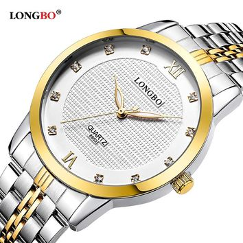 Longbo Womens Watches Top Brand Luxury 2017 Half Gold Stainelss Steel Couple Watch Cheap Dorpshipping Gift Items relojes 8803