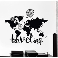 Wall Vinyl Decal World Map Air Balloon Compass Traveling Quote Decor Unique Gift z4434