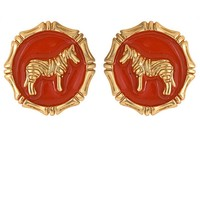 Fornash Enamel Safari Zebra Earring
