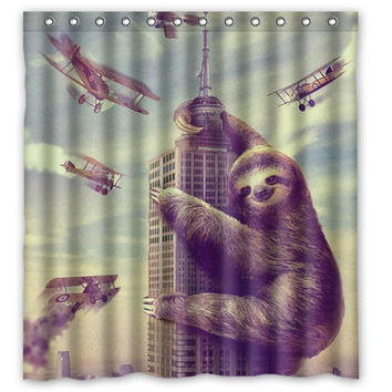Slothzilla, Sloth, Shower Curtain size option available