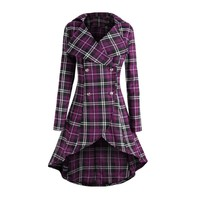 Trendy Sisjuly Women Red Purple Black Vintage Plaid Peplum Double Breasted Long Asymmetric Jacket Coat Autumn Winter Plus Size Overcoat AT_94_13