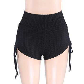 Hot Shorts CHRLEISURE Summer High Waist  Sexy Push Up Workout  Women Solid Lace Up  Mujer Femme 3ColorAT_43_3