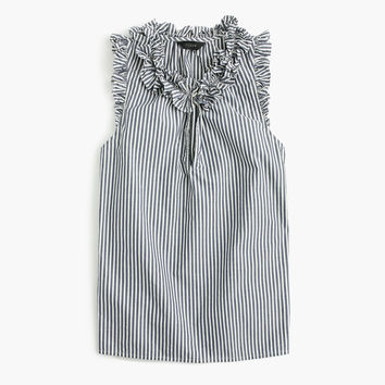 Ruffle top in striped cotton poplin