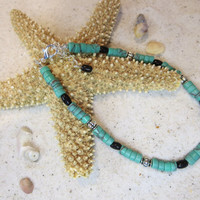 Southwest Inspired Turquoise Black Silver Beads Ankle Bracelet Beach Anklet Summertime Jewelry Sun tan Natural Shell Bohemian Chic