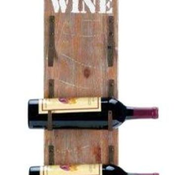 Cast Iron Wine Bottle Wall Rack With Metal Handle
