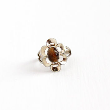 Vintage Sterling Silver Tiger's Eye Flower Scarab Ring - Retro Egyptian Revival Brown Carved Gem Beetle Adjustable Beau Costume Jewelry