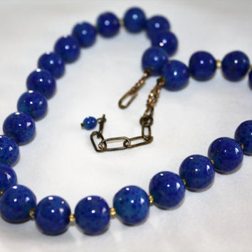 Vintage Blue Lapis Necklace, Lapis Bead Necklace, 1970s Jewelry