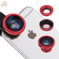 STC Universal Mobile Phone Lenses 3 in 1 Wide Angle Macro Fish Eye Lens For iPhone 5S 6 Samsung S5 S6 HTC M9 LG Sony Silver