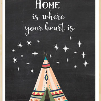 Home is where your heart is, Housewarming Present, House Warming Gift, New Home gift,  Boho Printable, Teepee Print, chalkboard home decor