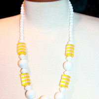 Vintage 1960s Chunky White and Yellow Sunny  Lucite Necklace  24''