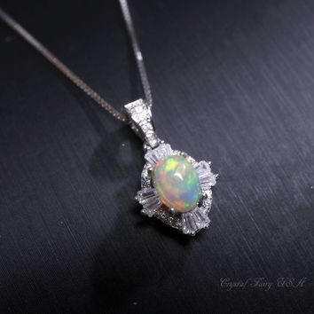 Ethiopian Opal Necklace Sterling Silver,  Genuine Halo Opal Choker,  Rainbow CZ Full Sterling Silver Solitaire Natural Fire Opal Jewelry