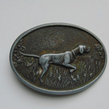 Vintage Hunting Bird Dog Bloodhound Pointer Belt Buckle