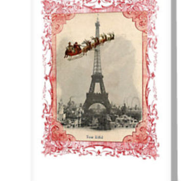 'Santa Over Paris Red Frame' Greeting Card by 13Moons