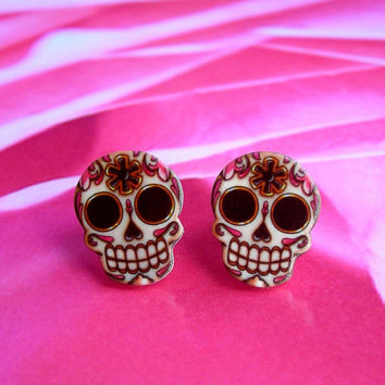 NEW Sugar Skull Skeleton Key Post Earrings