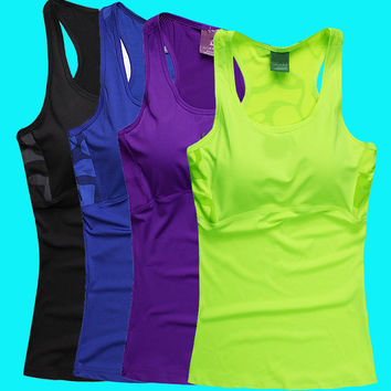 2016 Summer New Women Sports Vest Famous Brand Tank Tops Shockproof Breathable Gym Running Tennis Sports Wear With Pad
