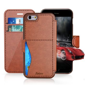 iPhone 8 / iPhone 7 Leather Wallet Case with Cards Slot and Metal Magnetic, Slim Fit and Heavy Duty, TAKEN Plastic Flip Case / Cover with Rubber Edge, for Women, Men, Boys, Girls, 4.7 Inch Dark Brown