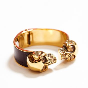 Alexander McQueen | Gold and Maroon Twin Skull Cuff