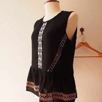 Black Boho Blouse Sleeveless Bohemian Hippie Top Blouse (Free Size US8-US10)