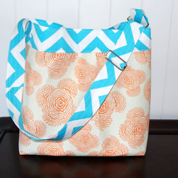 Medium Diaper Bag ,Aqua Chevron and Orange Floral- The Parker