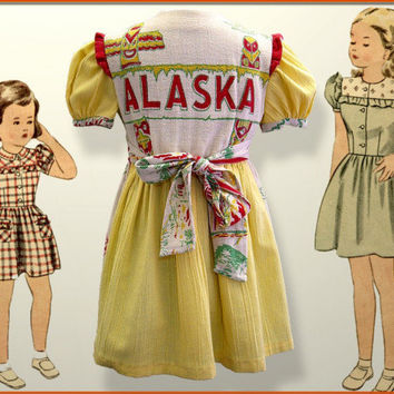 Little Miss Alaska - 1940's style prairie dress - girl's size 5