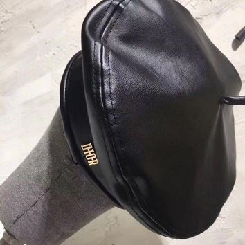 ONETOW Dior' Fashion All-match Classic Letter Logo Leather Beret Cap Women Hat Painter Cap
