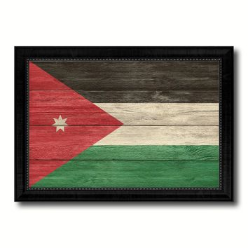 Jordan Country Flag Texture Canvas Print with Black Picture Frame Home Decor Wall Art