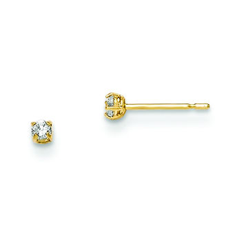 14k Madi K 2mm Round CZ Basket Set Stud Earrings GK659