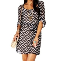 Navy 34 Sleeve Chevron Dress