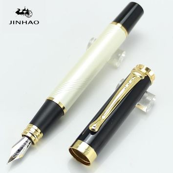 JINHAO 500 Executive White and Golden M Nib Fountain Pen  Stationery School&Office Supplies Writing Pen