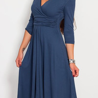 Blue V-Neck Midi Pleated Dress