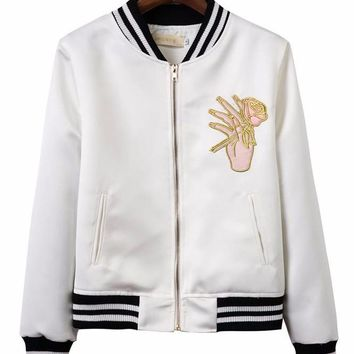 Flower Hand Bomber Jacket with Stripe Detail