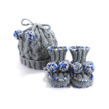Knitted Baby Hat and Booties - Light Gray, 6 - 9 month