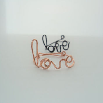 Custom Cursive Love- script Ring- Adjustable-Wire word 11 colours-valentines day