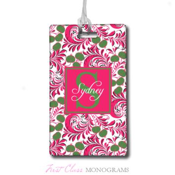 Pink & Green Floral Personalized Monogram Baggage Tag