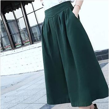 New 2015 summer autumn women's linen skirts, mid-calf length pleated skirts,  elastic waist big bottom forest green,beige
