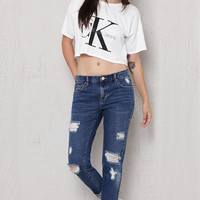 PacSun Johnny Blue Ripped Boyfriend Jeans at PacSun.com