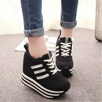 Women Lace Up High Platform Wedge Sneakers Heels Shoes