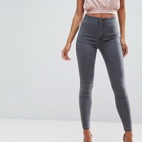 ASOS RIVINGTON High Waist Denim Jeggings in Cara Gray at asos.com