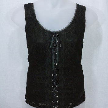 162126 Studio 1940 Black Lace Corset Inspired Tank Size 22